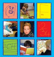 Omslag til brosjyre med bilder av barn og tegninger i ni små ruter.