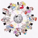 Illustrasjon av mange elever i en sirkel med hver sin datamaskin koblet sammen i et nettverk med jordkloden i midten.et nettver