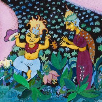 illustrasjon fra den flerspråklige fortellingen Hatteselgeren