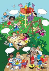 plakat med bilde av barn som gjør ulike aktiviteter med åpne snakkebobler der man kan fylle inn verb.