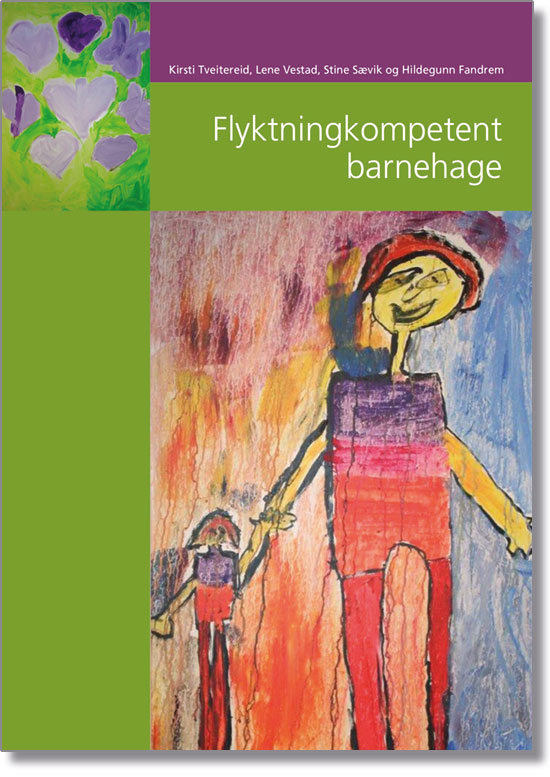 Bokomslag til Flyktningkompetent barnehage. En barnetegning av en voksen som holder et barn i hånda.