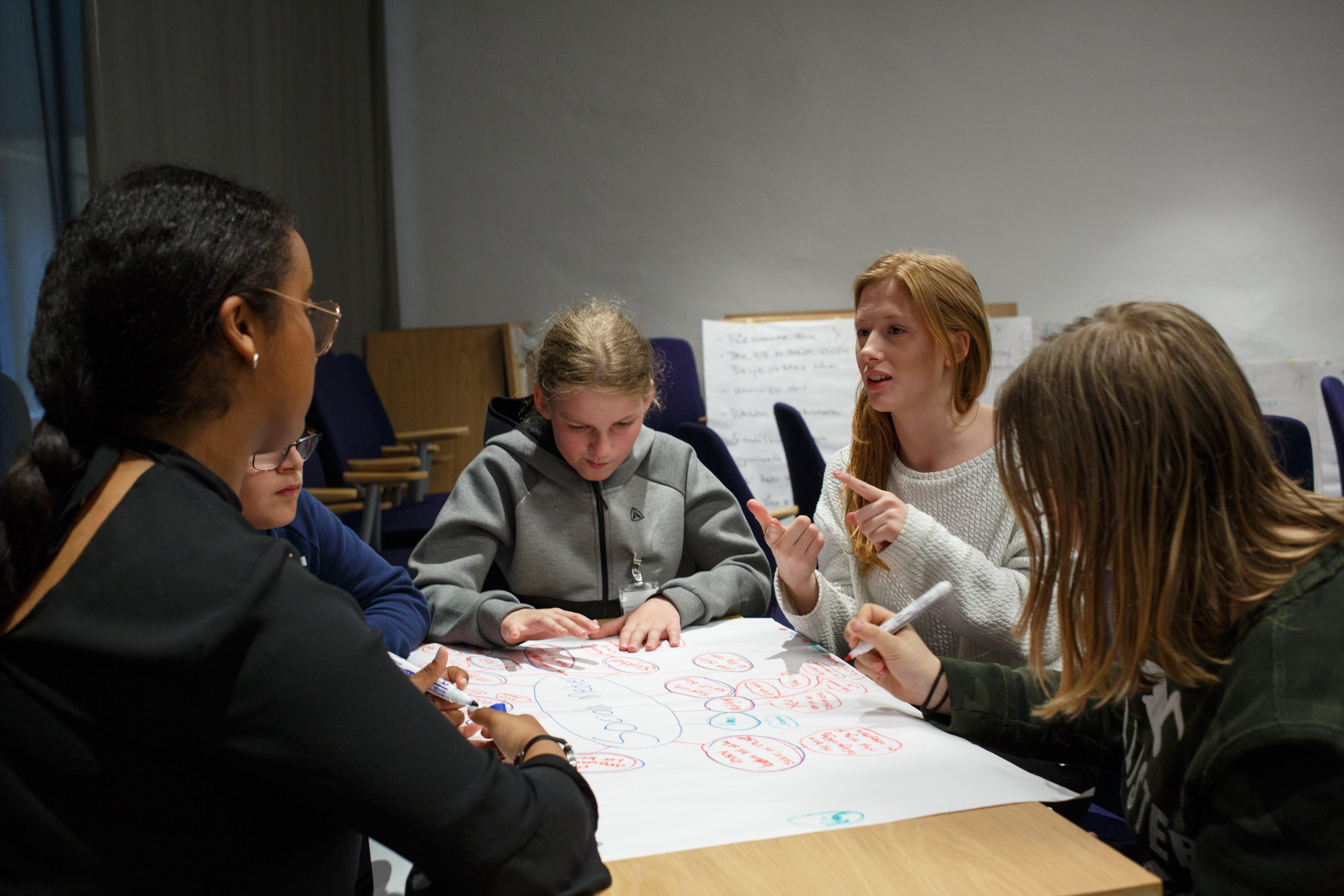 Illustrasjonsbilde med elever som jobber sammen