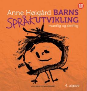 Omslaget til boka Barns språkutvikling. En barnetegning av et menneske.