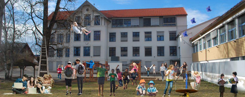 Bilde av skole med mange barn og unge utenfor