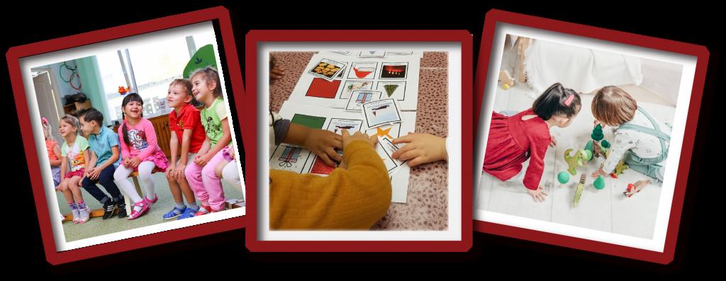 Tre bilder, barn i samlingsstund, ved språkspill og i lek.