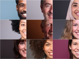 collage med portretfotoer av ni voksne mennesker. Kun halve ansiktet til personene synes,