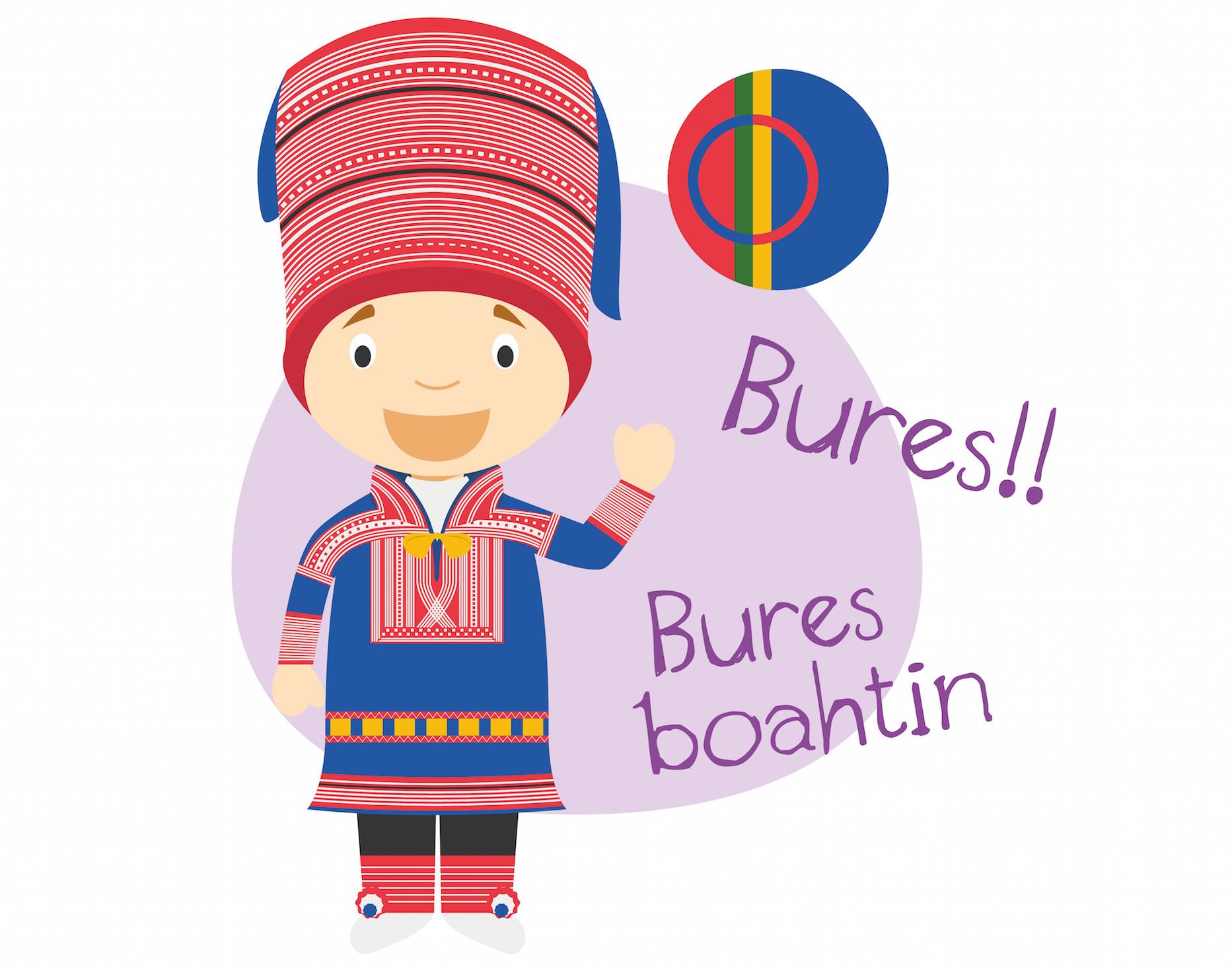 tegning av barn i samisk nasjonaldrakt som sier hei og velkommen på samisk