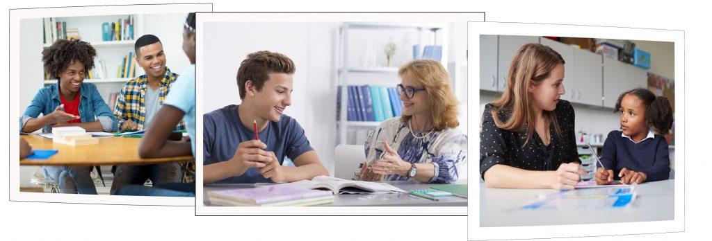 Elever og lærer samtaler.