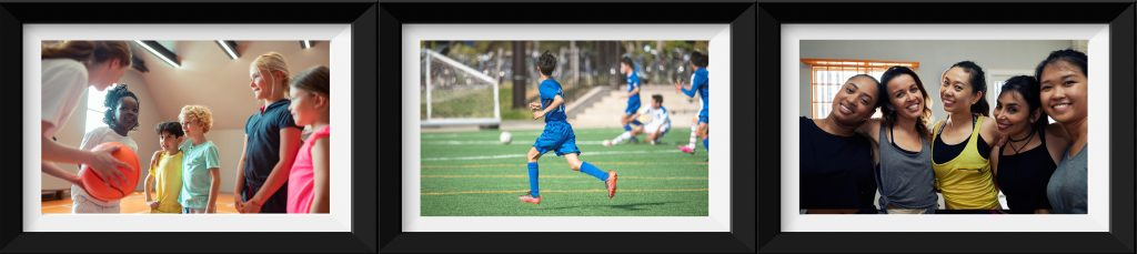 Tre bilder viser barn og unge i aktivitet på basketballbanen, på fotballbanen og i dansesalen.
