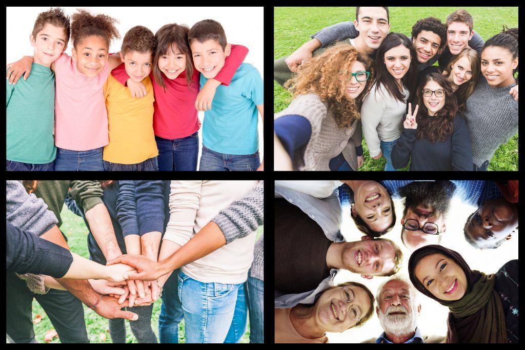 Foto som viser inkludering, mennesker som holder rundt hverandre.