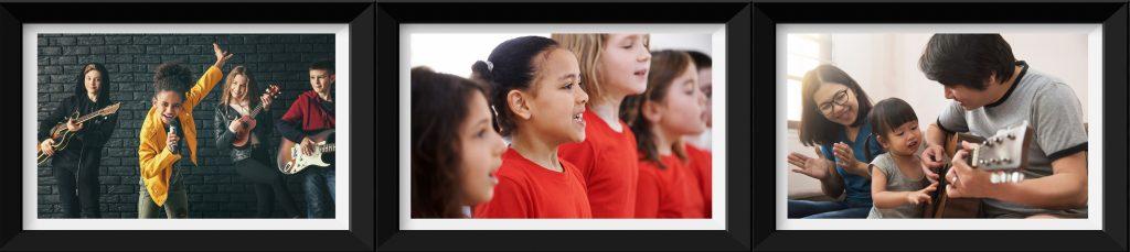 Tre bilder på rekke. En jente synger i et band. Barn deltar i kor, to voksne og et barn spiller gitar og synger.
