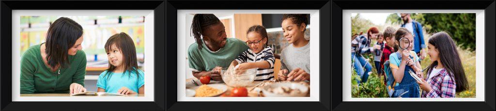 Tre bilder. 1. barn på tur i naturen, 2. En voksen og et barn leser sammen i en bok, 3. en voksen og to barn lager mat sammen.