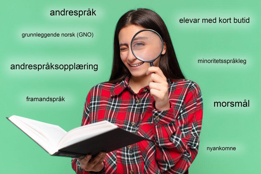 Foto av jente med forstørrelsesglass og bok. Fagord knyttet til språklige minorieteter i opplæringen stør rundt henne.