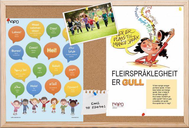 En oppslagstavle med plakat hvor det står hei på flere språk og en hvor det står fleirspråklegheit er gull.